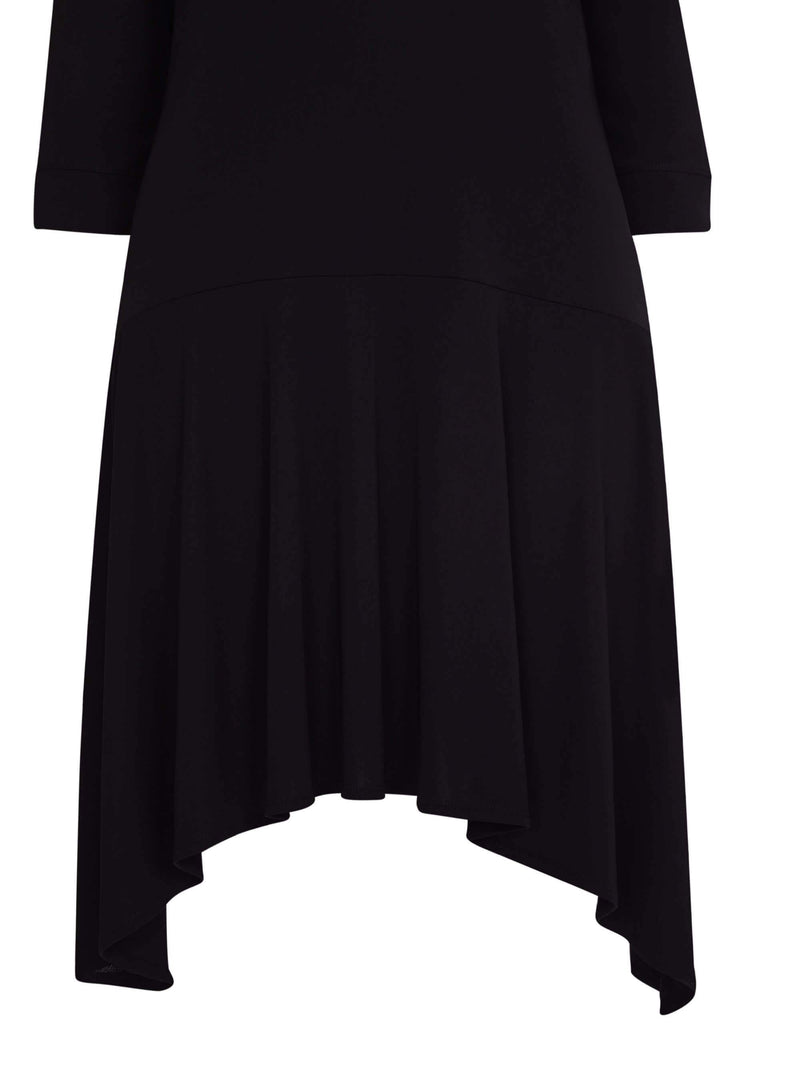 French Crepe Dropped Waist Dress