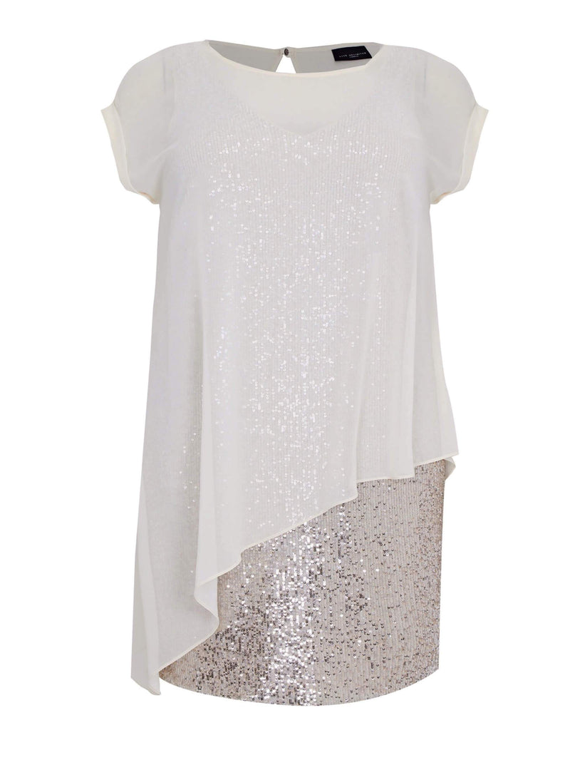 Chiffon Overlayer Sequin Dress - Live Unlimited London