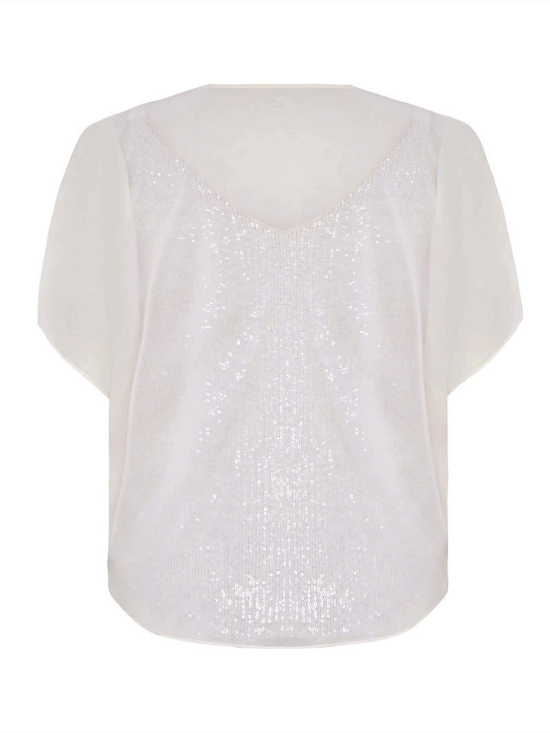 Sequin & Chiffon Mix Blouse - Live Unlimited London