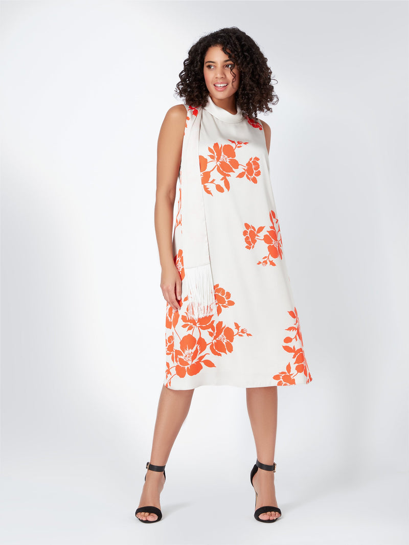 Coral Placement Dress
