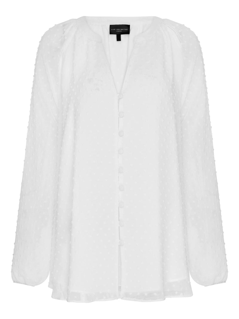 Dobby Button Blouse