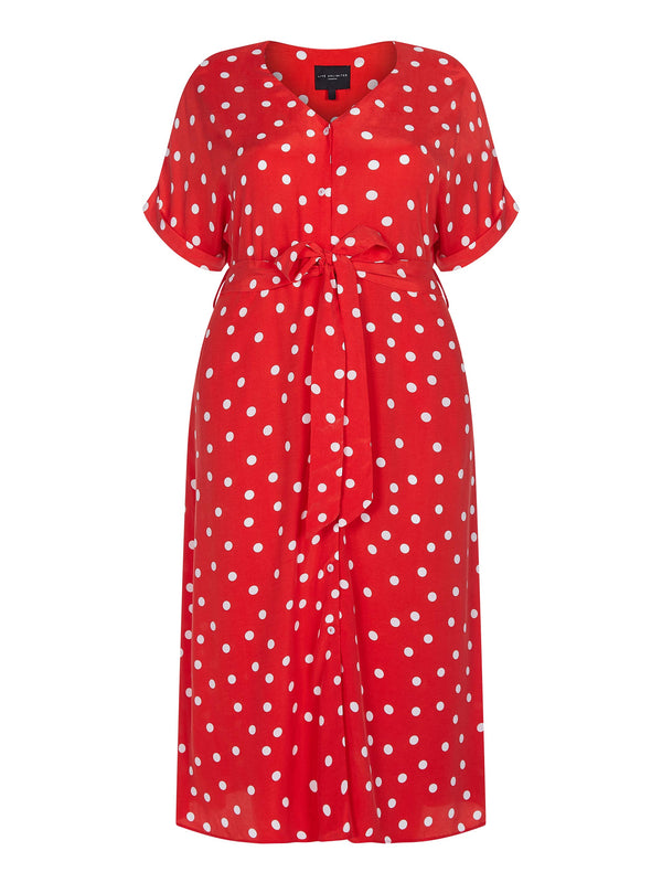 Spot Short Sleeve Shirt Dress