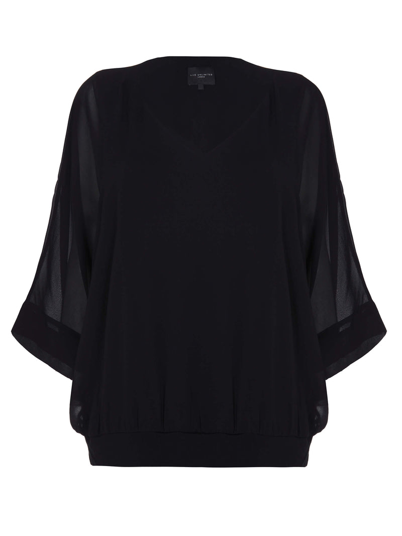 Black Blouson Hem Overlay Top