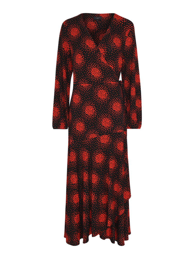 Red Heart Jersey Wrap Dress - Live Unlimited London