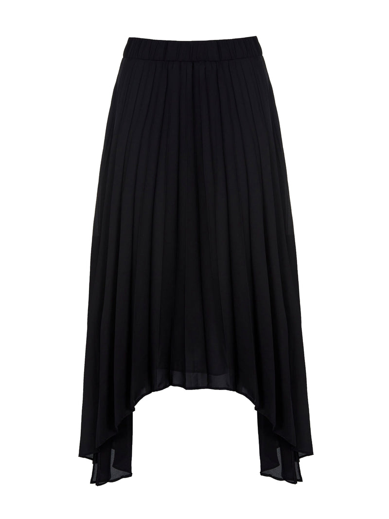 Pleated Hanky Hem Skirt