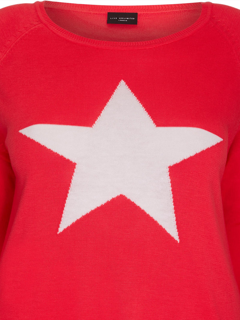 Knit Jumper With Star Motif - Live Unlimited London