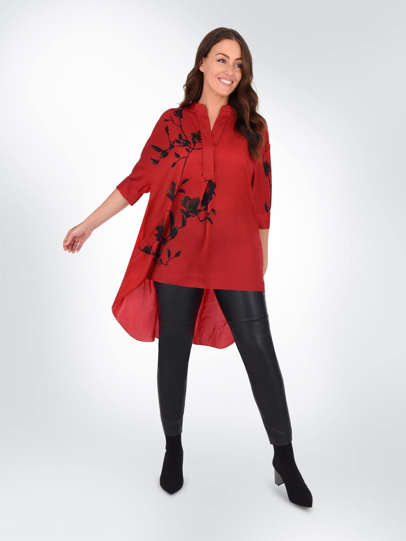 Red Floral Placement Shirt