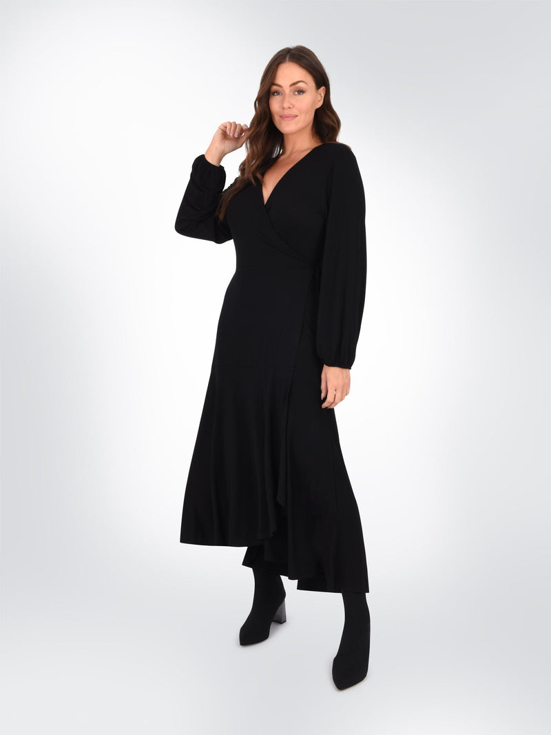 Black Jersey Wrap Dress