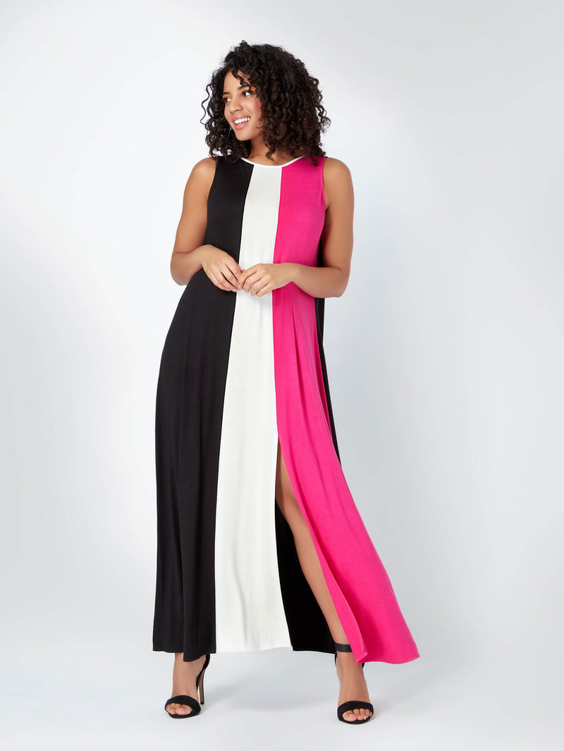Colour Block Maxi Dress - Live Unlimited London
