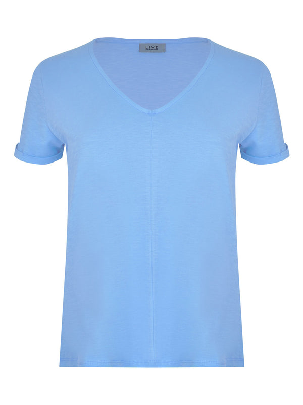 Cotton V Neck Swing Tee - Live Unlimited London