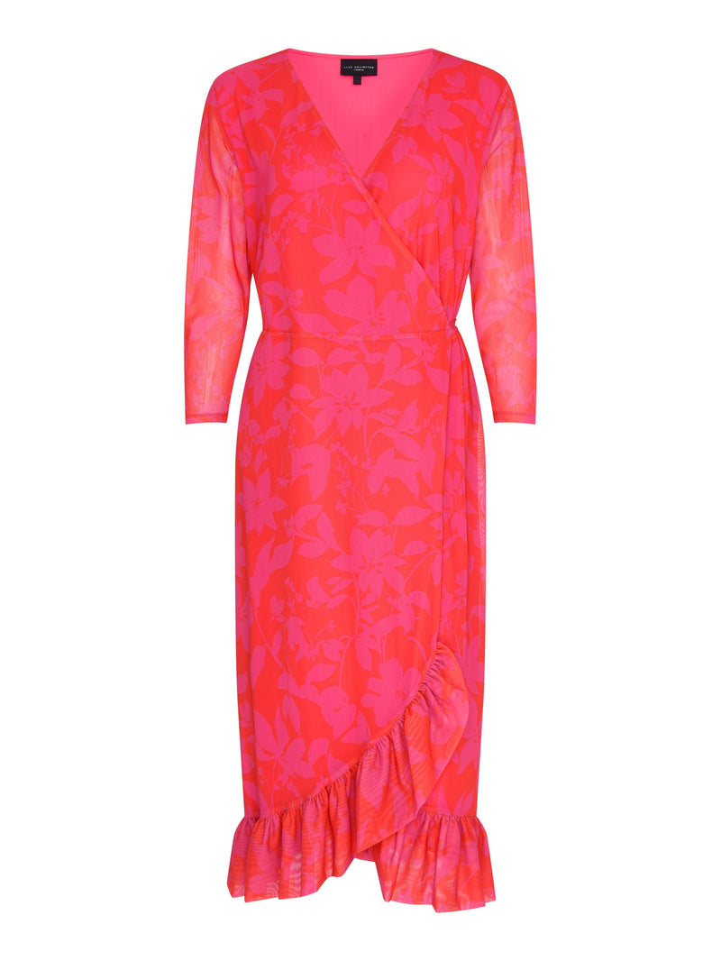 Red Fuchsia Floral Mesh Wrap Dress