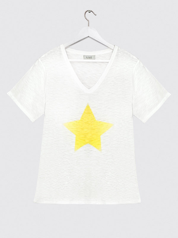 Star Print Tee Yellow - Live Unlimited London