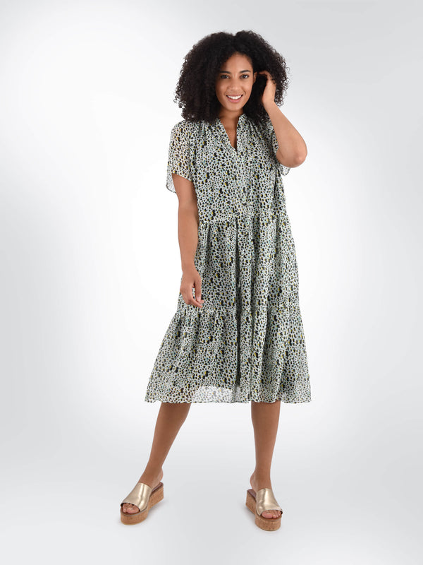 Heart Print Tiered Dress