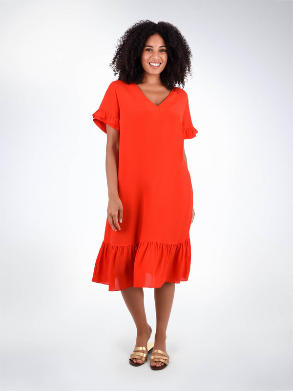 Frill Detail Shift Dress - Live Unlimited London