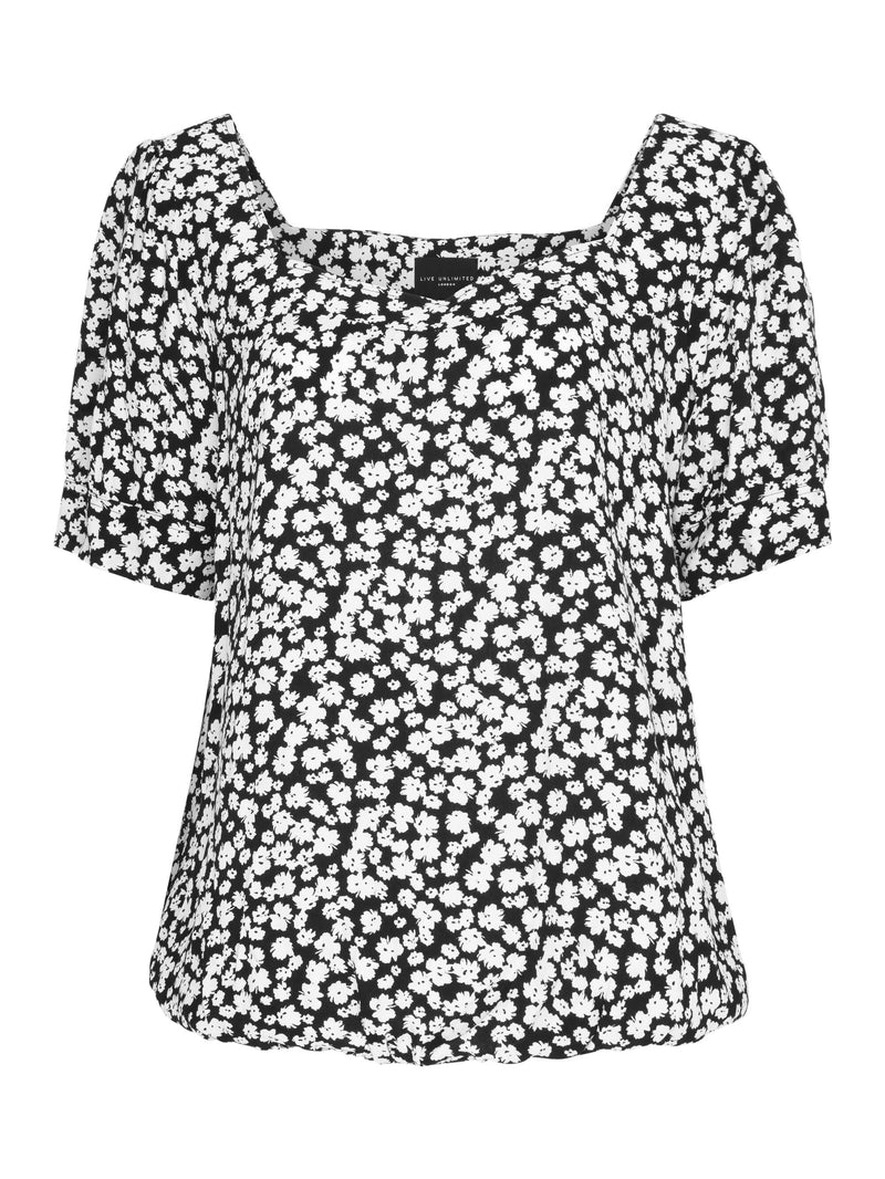Ditsy Square Neck Top