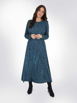 Green Ditsy Jersey Panelled Dress