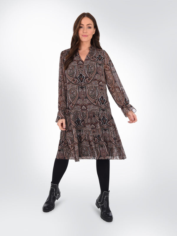 Paisley Tie Neck Detail Dress - Live Unlimited London