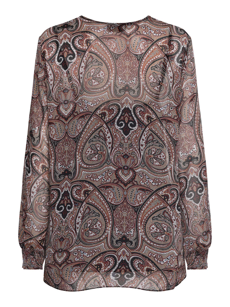 Paisley Tie Neck Detail Top