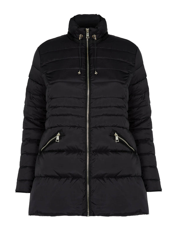 Black Seam Detail Padded Jacket