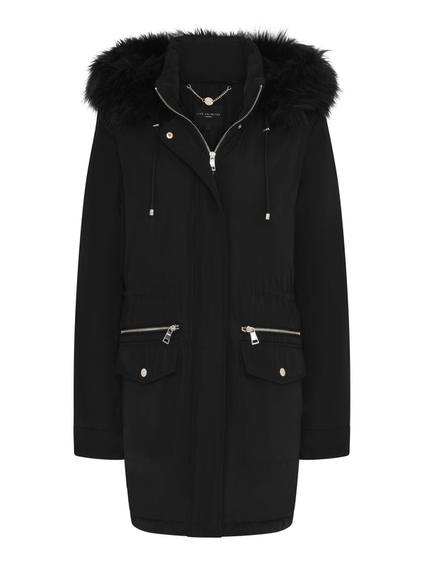 Black Parka Jacket With Fur Hood - Live Unlimited London