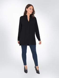 Black Relaxed Shirt with Jersey Back