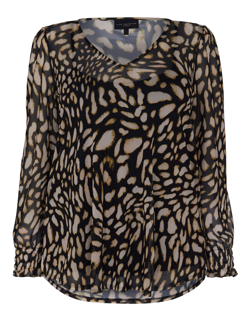 Animal Mesh Puff Sleeve Top - Live Unlimited London