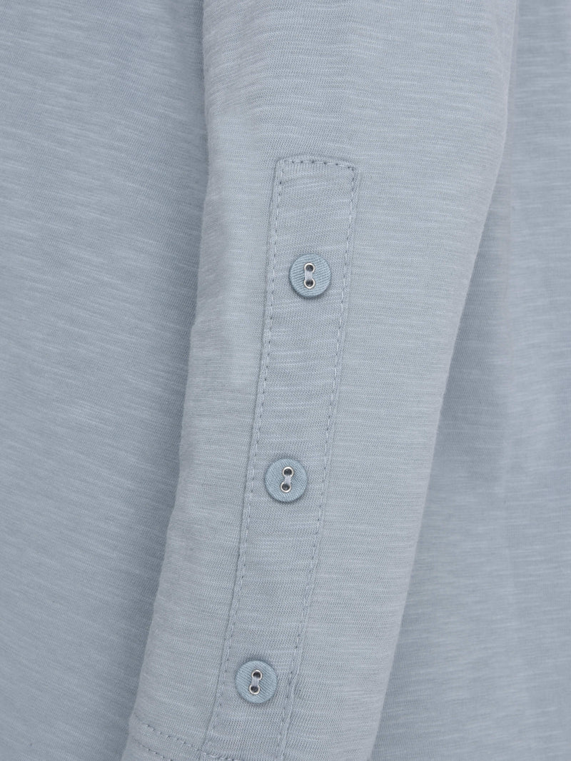 Cotton Swing Tee with Sleeve Button Detail