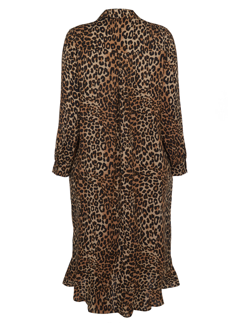 Animal Print Ruffle Hem Dress