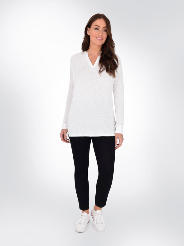 White Notch Neck Slub Tee