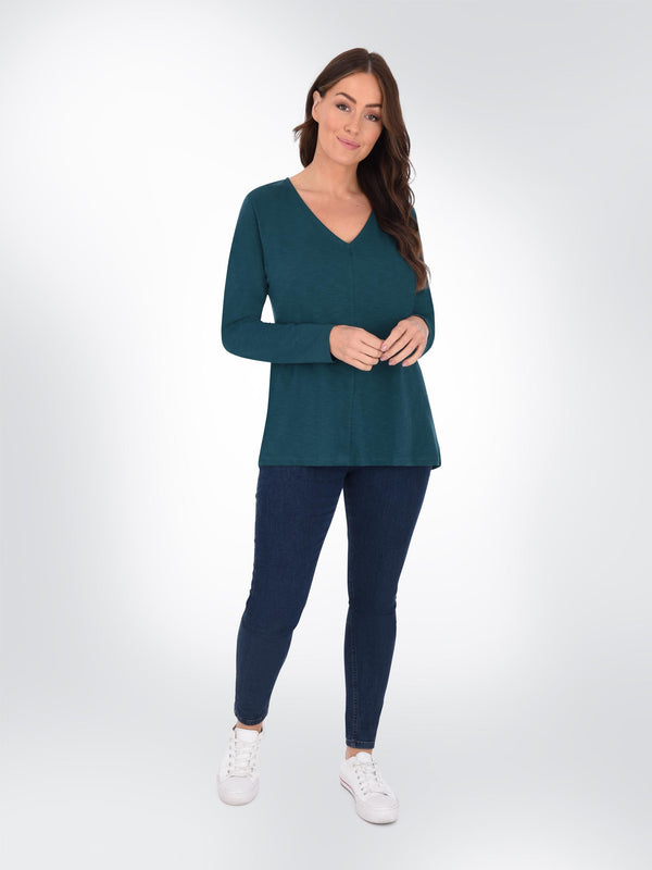 Green Long Sleeve Cotton Swing Tee