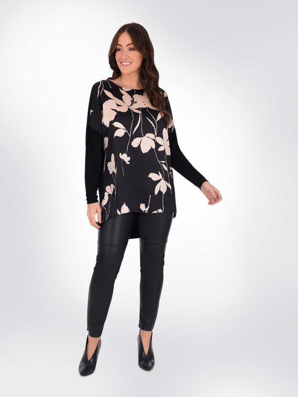 Silhouette Floral Top With Jersey Back