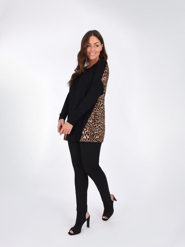Black Jersey Top With Animal Print Back