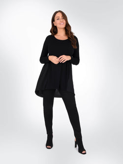 jersey satin mix tunic