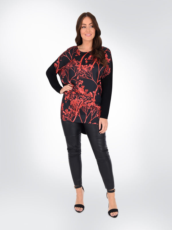Red Blossom Printed Top