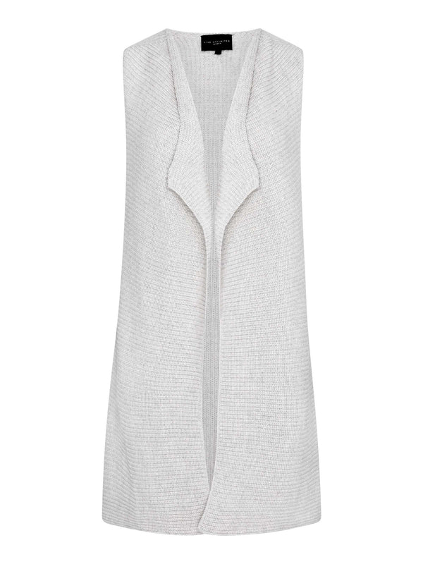 Oatmeal Longline Sleeveless Cardigan
