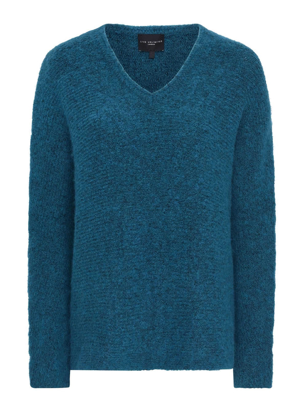Teal V Neck Boxy Jumper