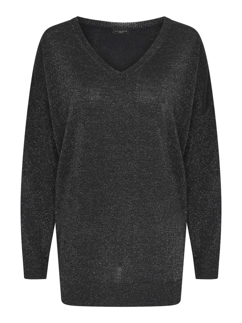 Black Metallic V Neck Jumper
