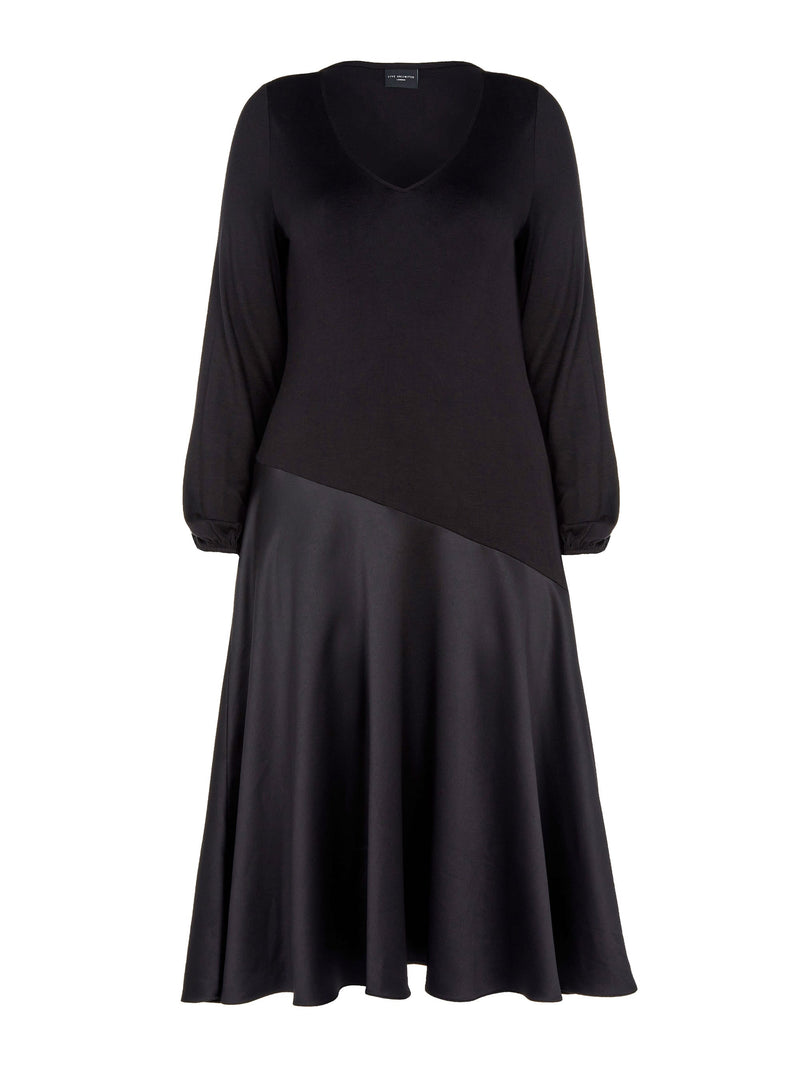 Black Jersey Dress With Satin Panel