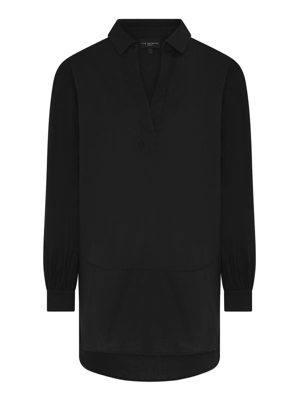 Black Cotton Shirt With Seam Detail
