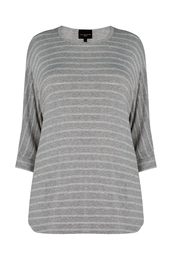 Metallic Stripe Batwing Top