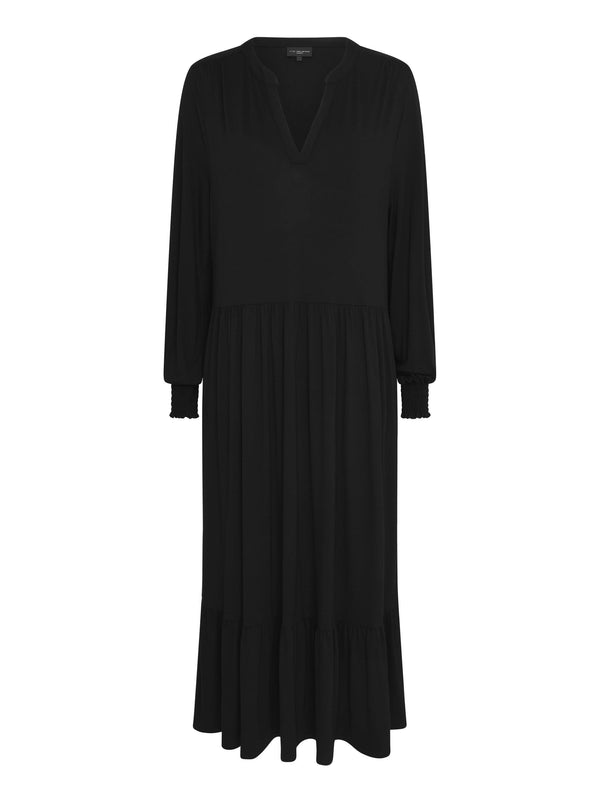Black Jersey Tiered Midi Dress