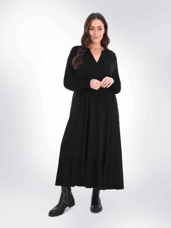 Black Jersey Tiered Midi Dress - Live Unlimited London
