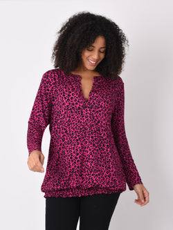 Pink Animal Jersey Bubble Top - Live Unlimited London