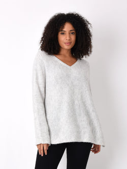 Grey V Neck Boxy Jumper