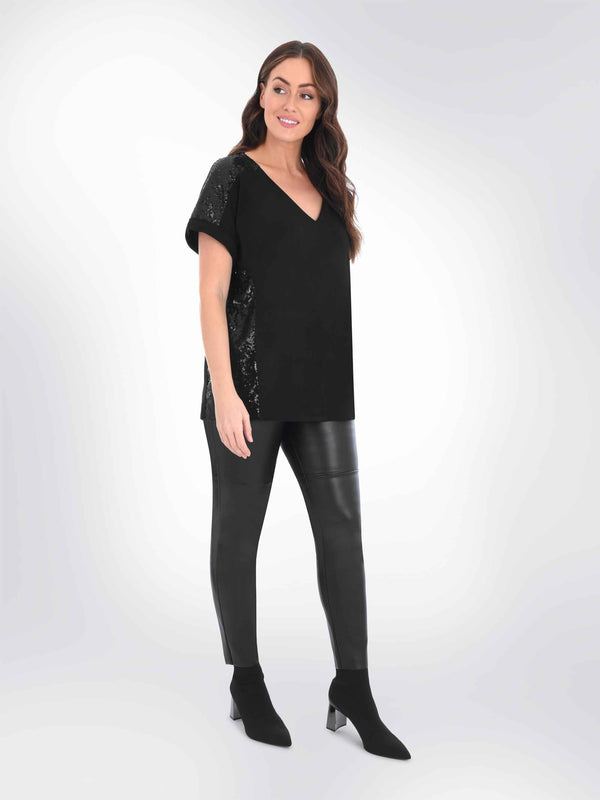 Black Tee with Sequin Panels