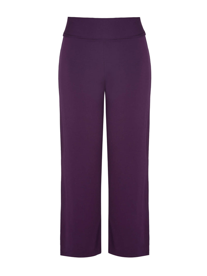 Plum Jersey Relaxed Wide Leg Trouser