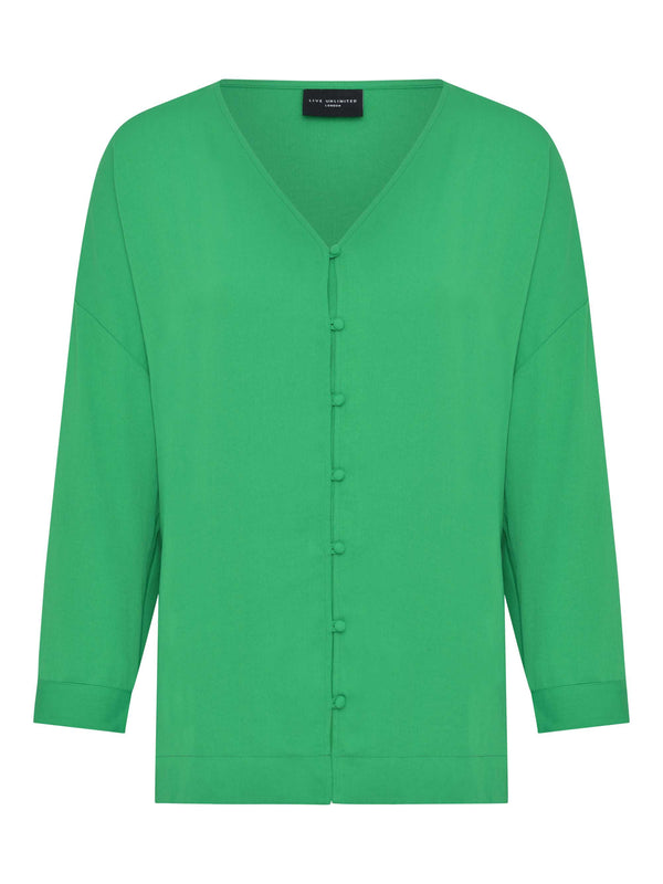 Green Button Through Blouse