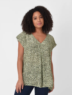 Sage Animal Pleat Front Top