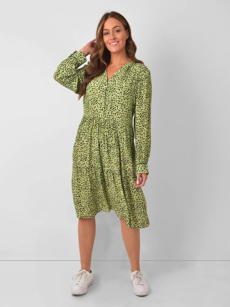 Sage Animal Tiered Dress
