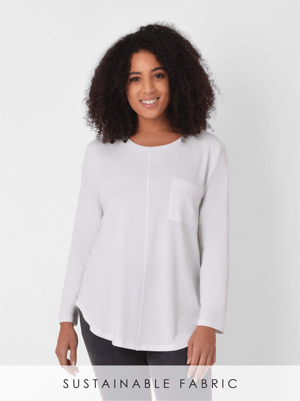 ECOVERO™ Seamed Pocket Long Sleeve Tee